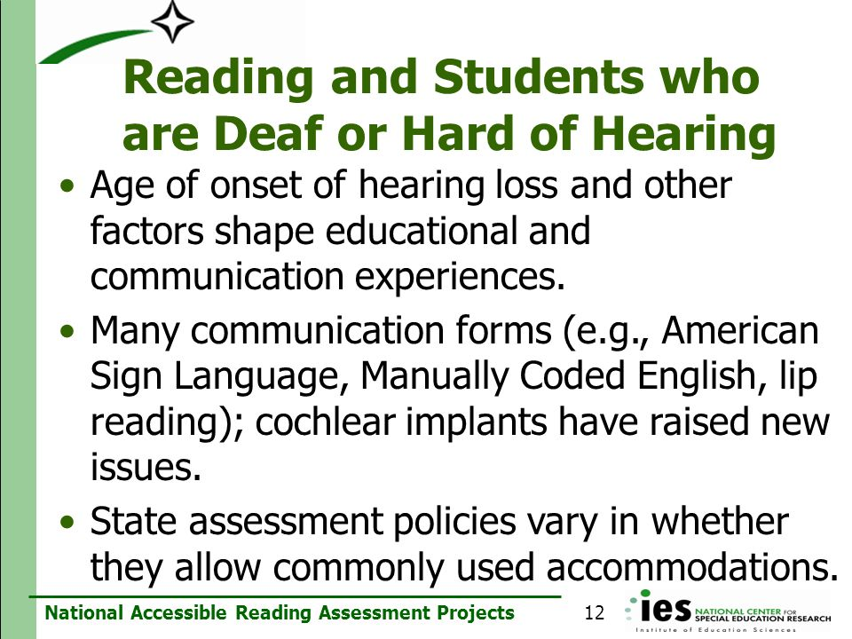 Reading and Students who are Deaf or Hard of Hearing