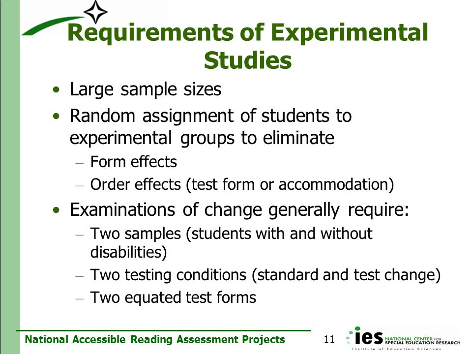 Requirements of Experimental Studies