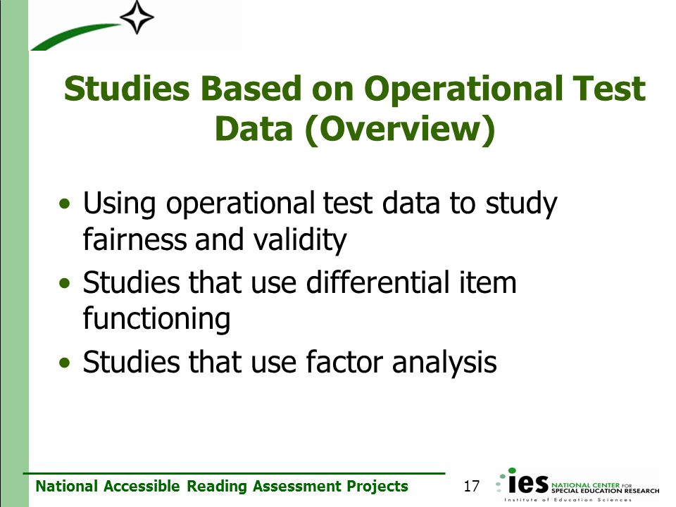 Studies Based on Operational Test Data (Overview)