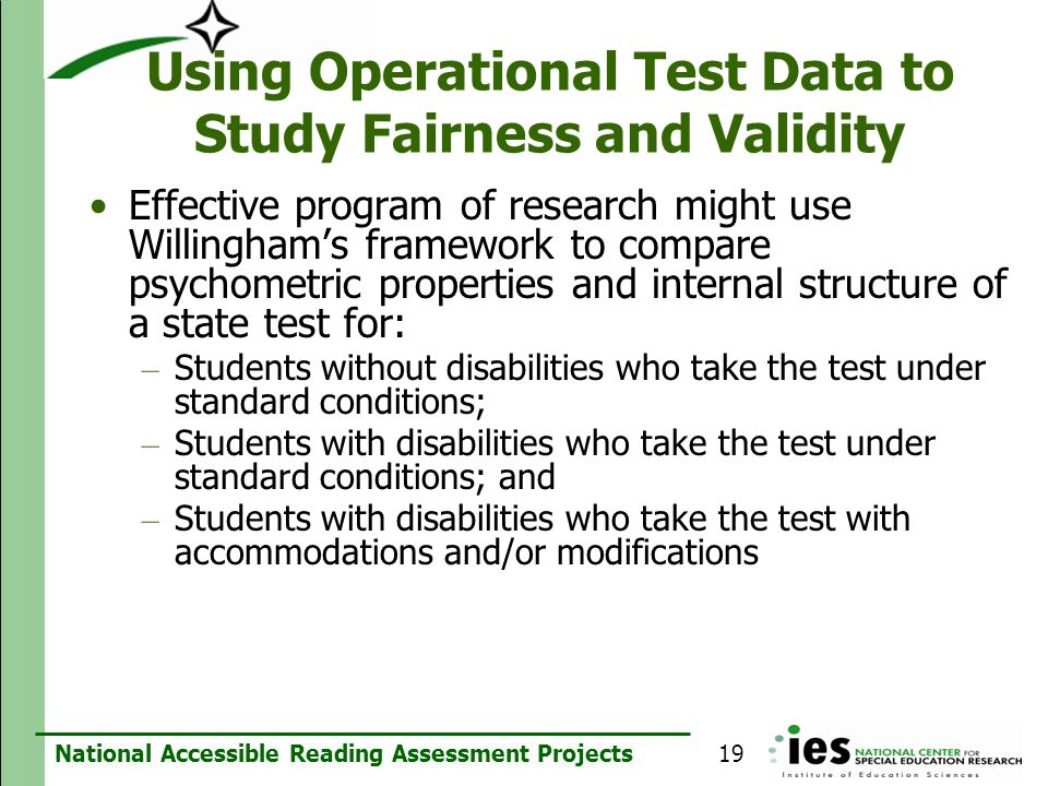 Using Operational Test Data to Study Fairness and Validity