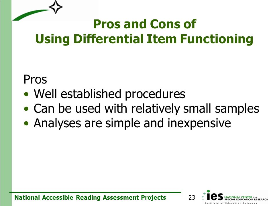 Pros and Cons of Using Differential Item Functioning