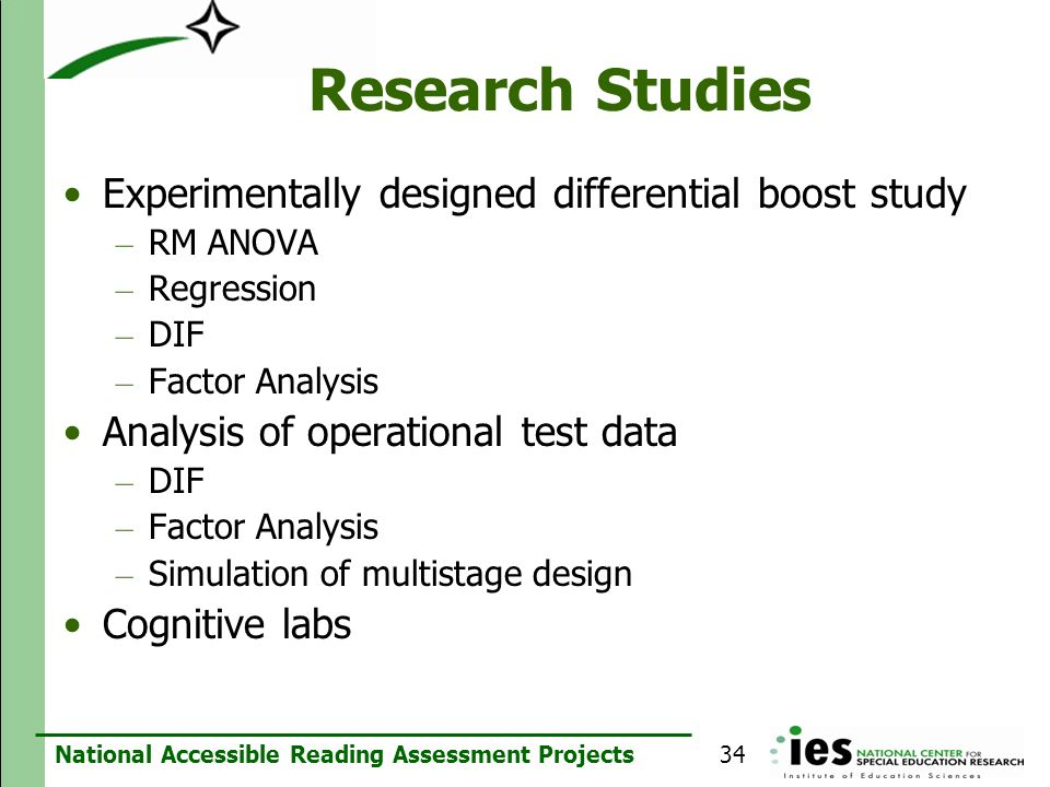 Research Studies Experimentally designed differential boost study