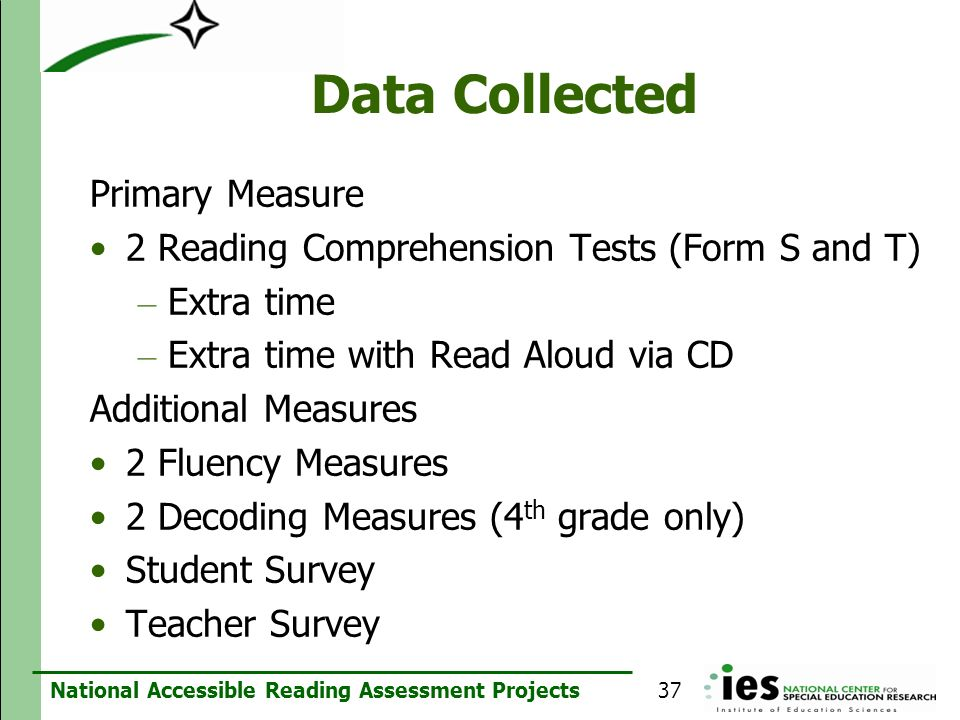 Data Collected Primary Measure