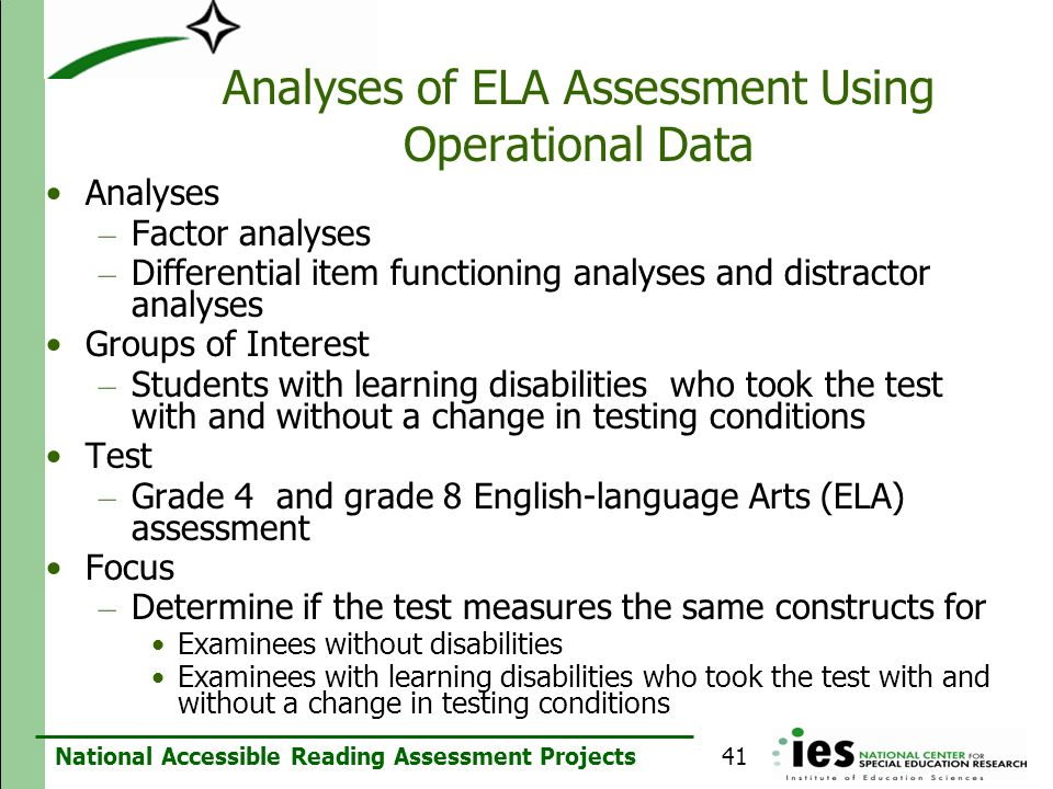 Analyses of ELA Assessment Using Operational Data