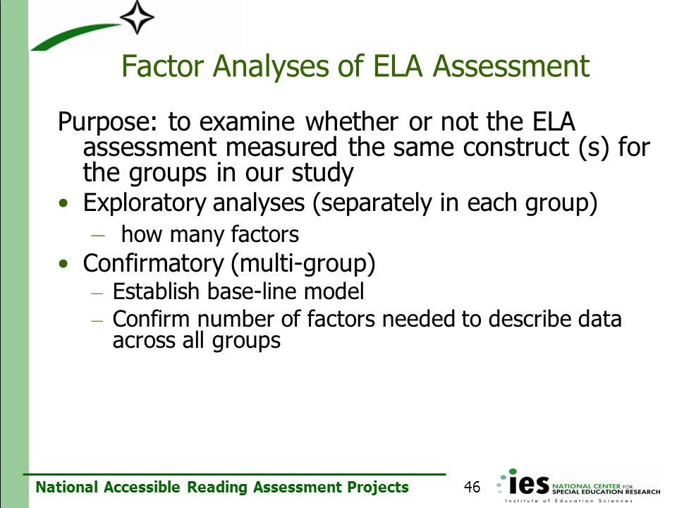 Factor Analyses of ELA Assessment