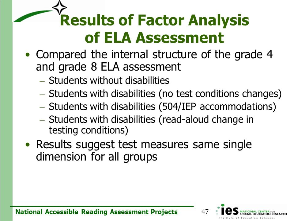 Results of Factor Analysis of ELA Assessment