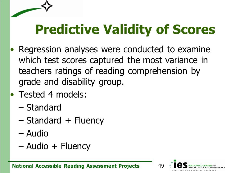 Predictive Validity of Scores