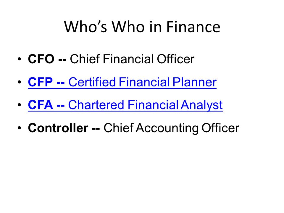 Thursday morning finance ppt video online download - Chief financial officer cfo ...