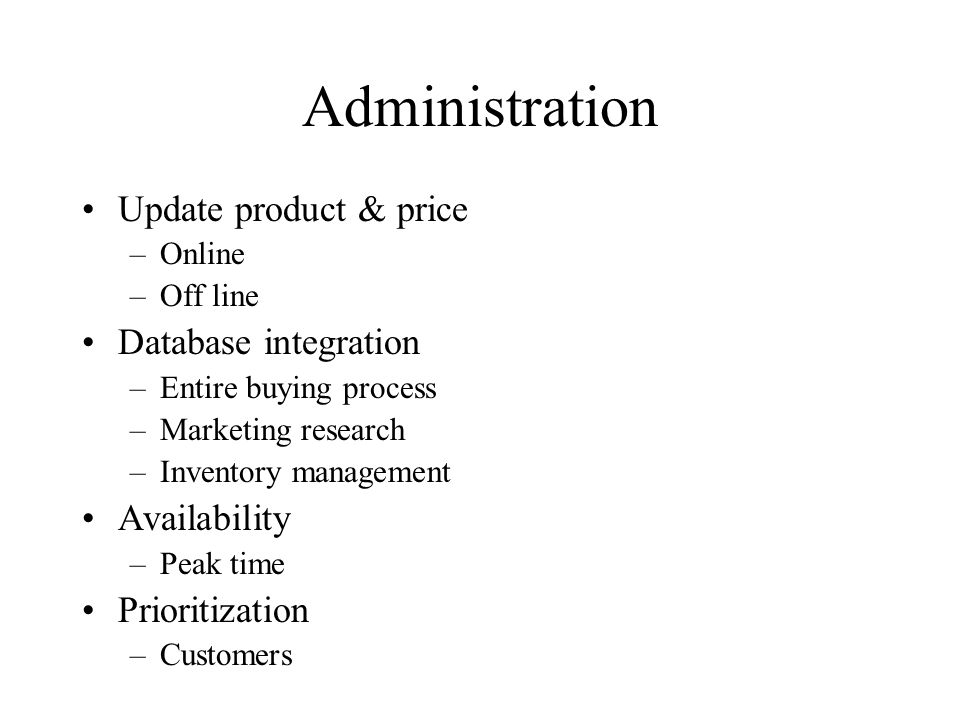 Administration Update product & price Database integration