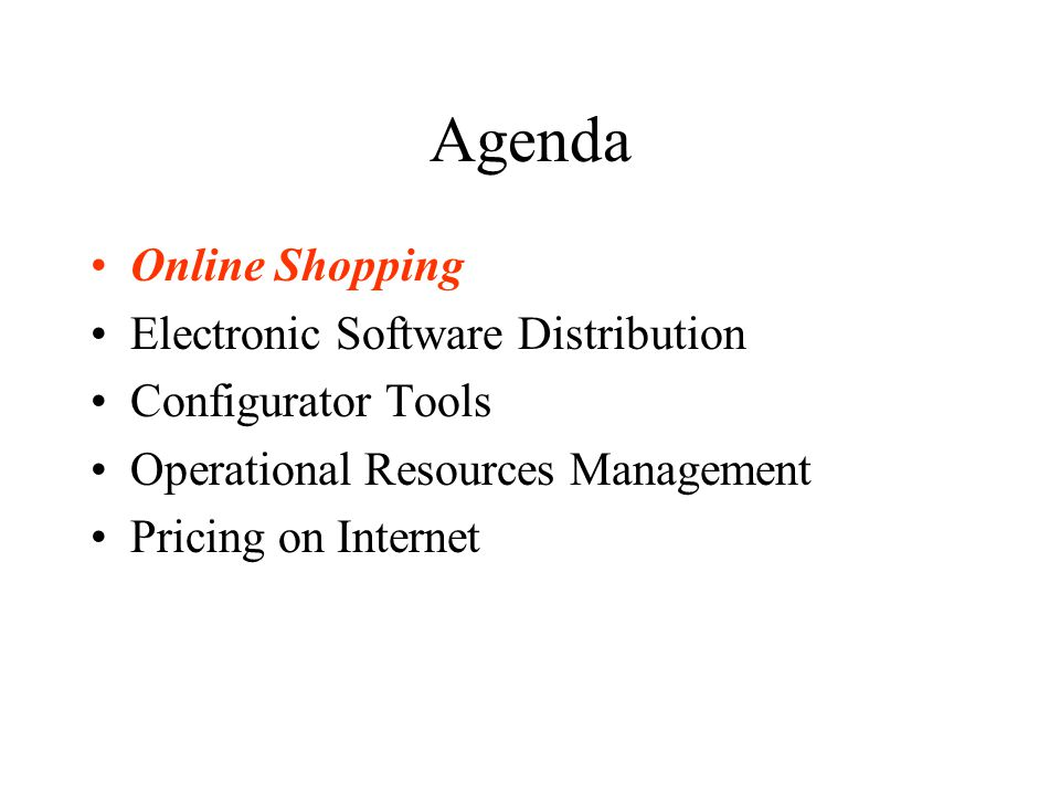 Agenda Online Shopping Electronic Software Distribution