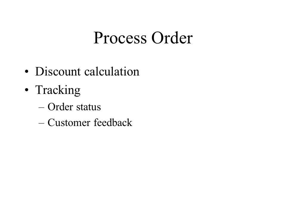 Process Order Discount calculation Tracking Order status