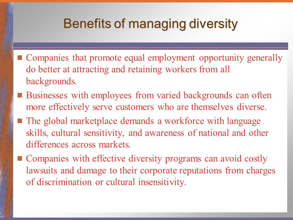 managing equality and diversity Equality and diversity are distinct but related concepts  the diversity program is  to recruit a workforce that reflects the diversity of the community, and to manage.