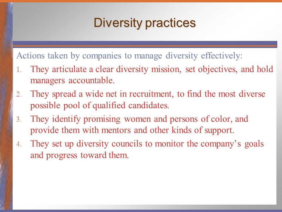 Diversity practices Actions taken by companies to manage diversity effectively: