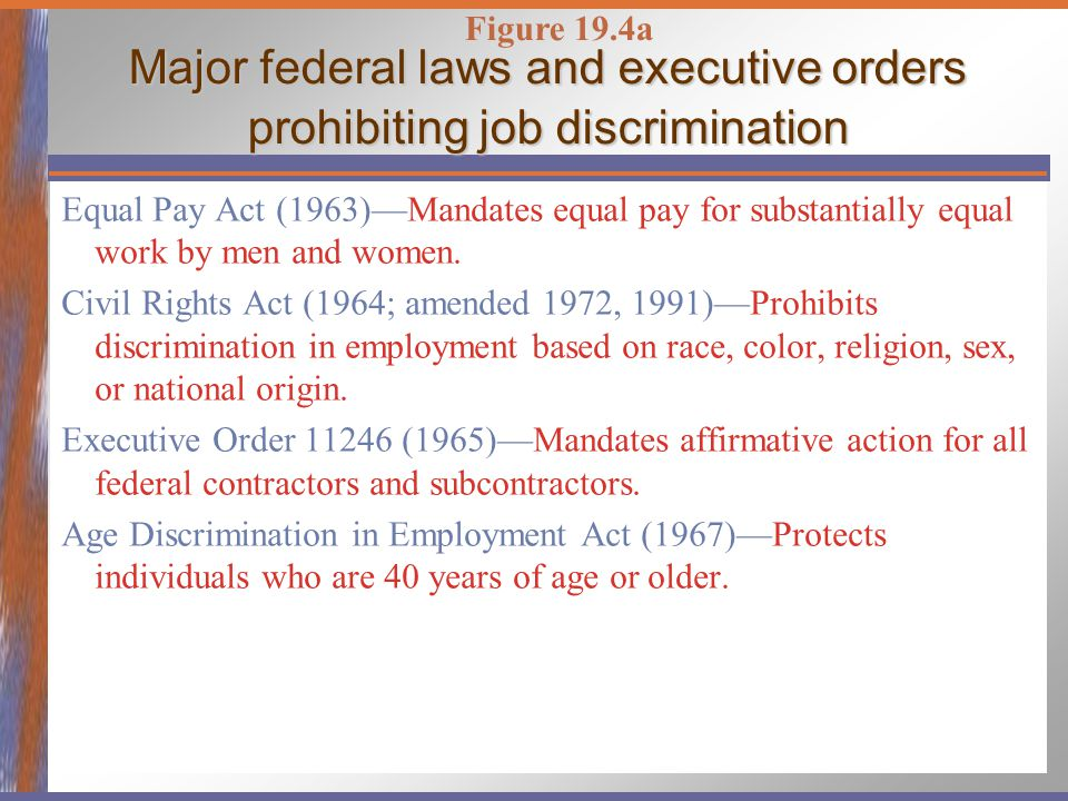 a description of the different existing laws prohibiting job discrimination As states consider passing laws that prohibit employment discrimination description of 14 states that have laws different agencies, ranging from all law.