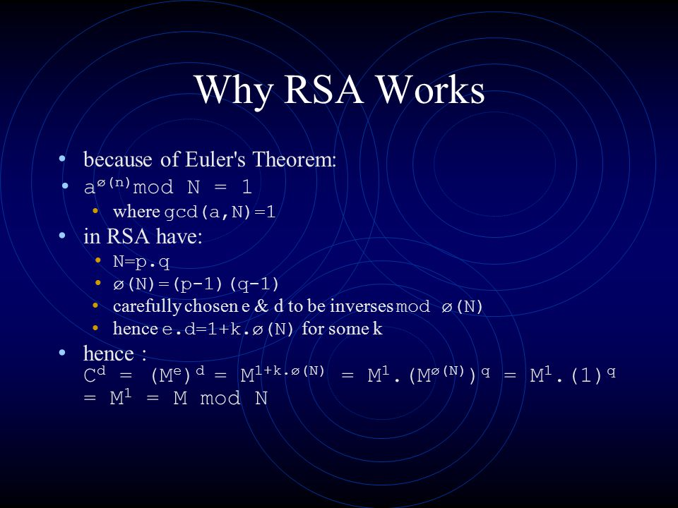 Why RSA Works because of Euler s Theorem: aø(n)mod N = 1 in RSA have: