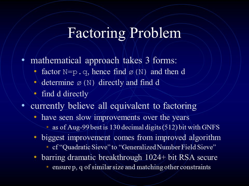 Factoring Problem mathematical approach takes 3 forms: