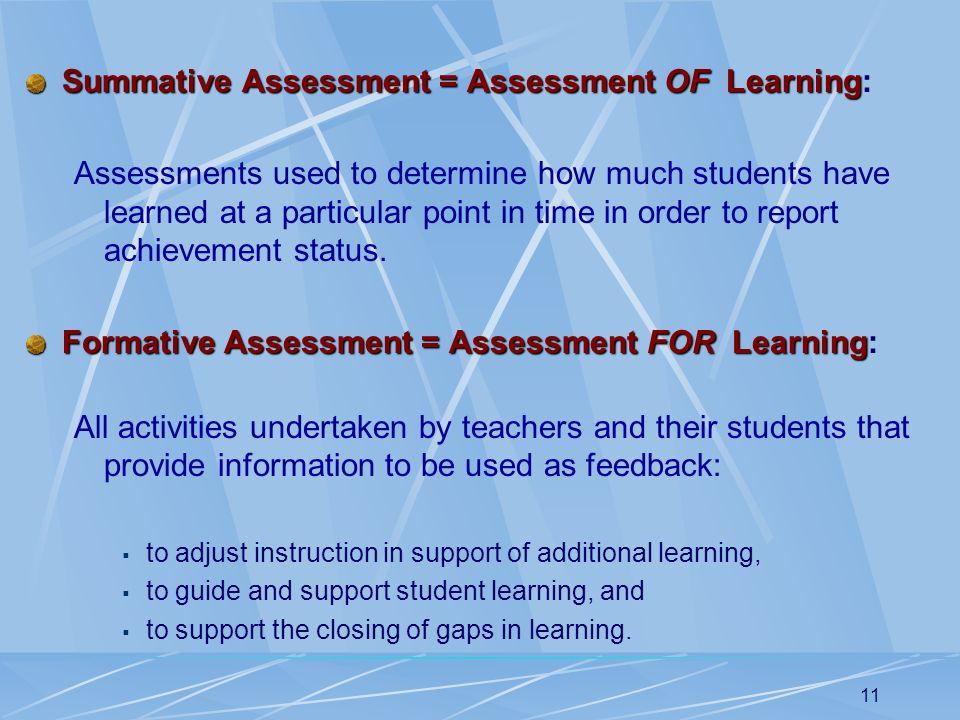 Summative Assessment = Assessment OF Learning: