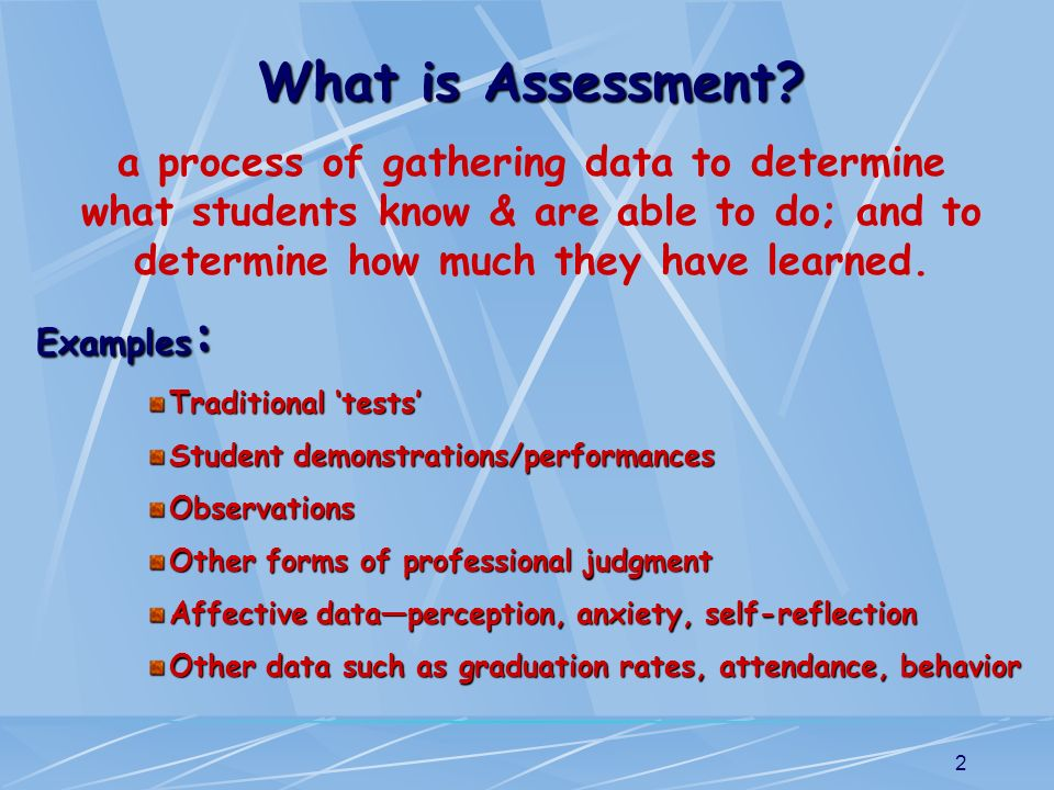 What is Assessment a process of gathering data to determine what students know & are able to do; and to determine how much they have learned.