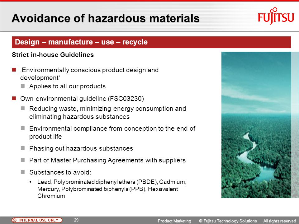 Avoidance of hazardous materials
