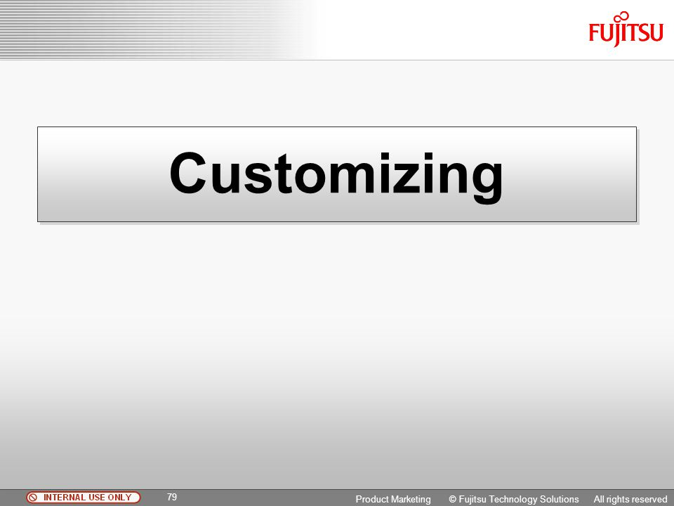 Customizing Copyright 2009 Fujitsu FTS