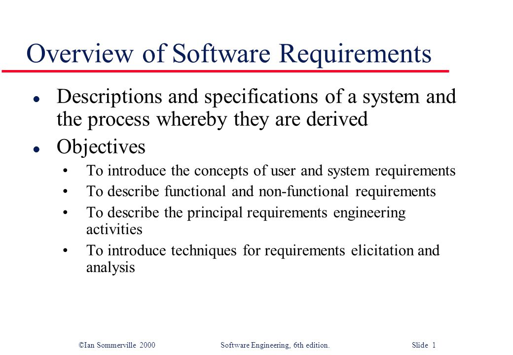 Overview Of Software Requirements Ppt Video Online Download - Software requirements