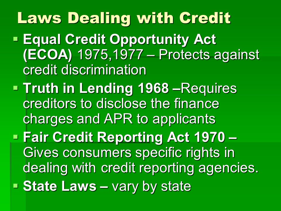 Laws Dealing with Credit