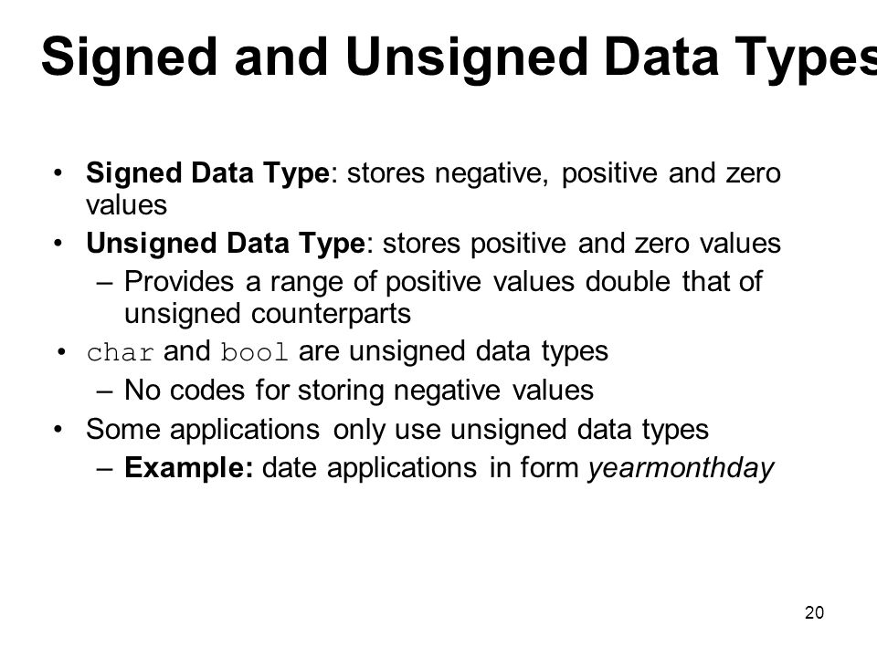 Signed and Unsigned Data Types