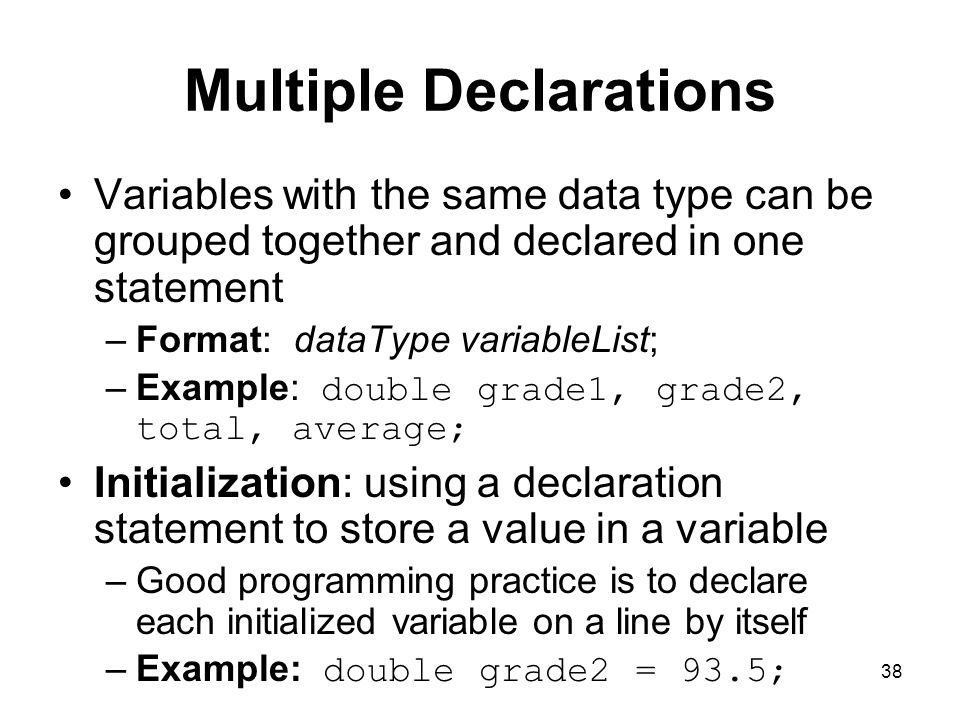 Multiple Declarations