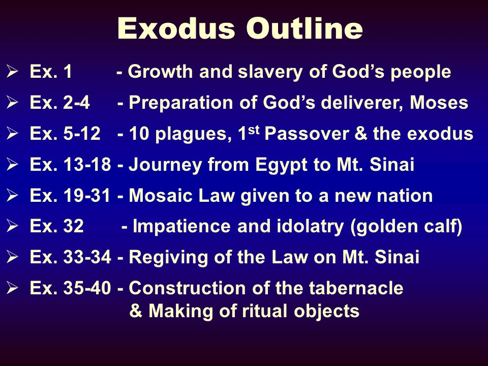 Exodus Outline Ex. 1 - Growth and slavery of God's people