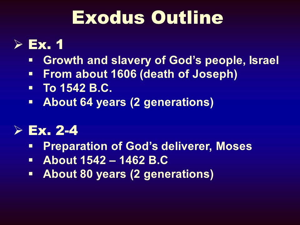Exodus Outline Ex. 1. Growth and slavery of God's people, Israel. From about 1606 (death of Joseph)