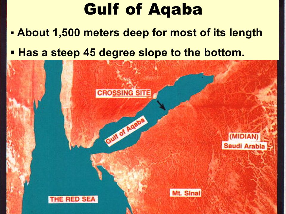 Gulf of Aqaba Has a steep 45 degree slope to the bottom.