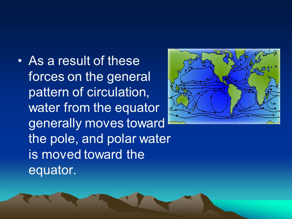 As a result of these forces on the general pattern of circulation, water from the equator generally moves toward the pole, and polar water is moved toward the equator.