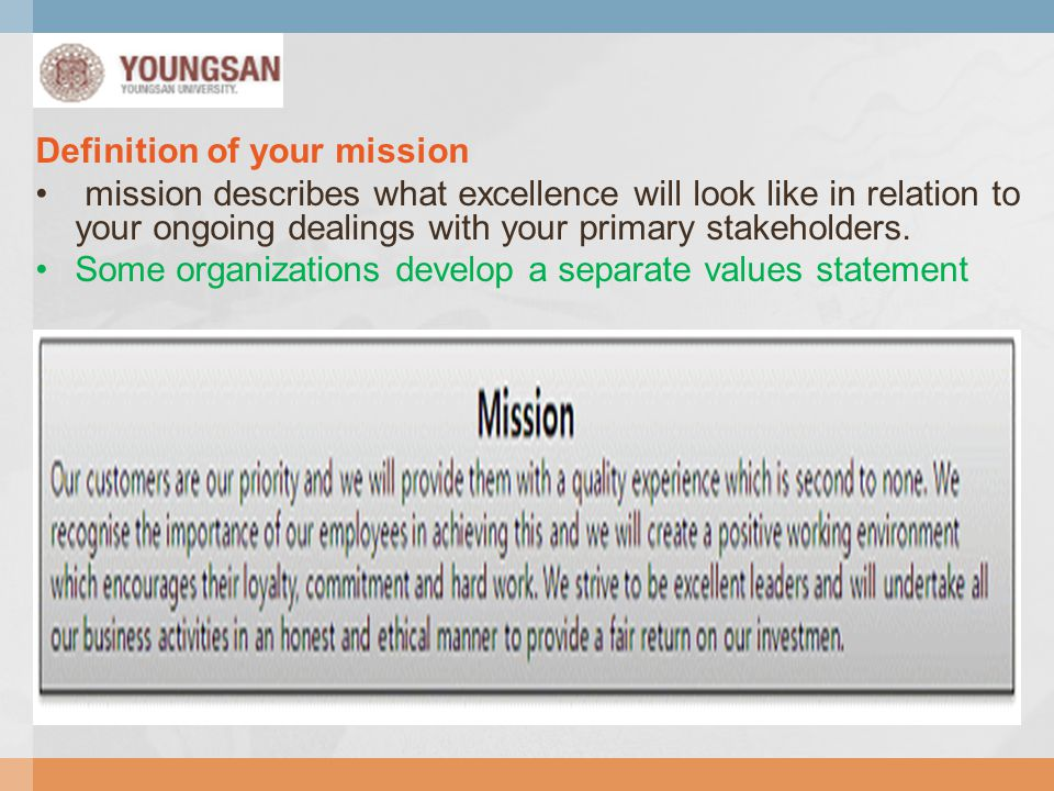 Definition of your mission