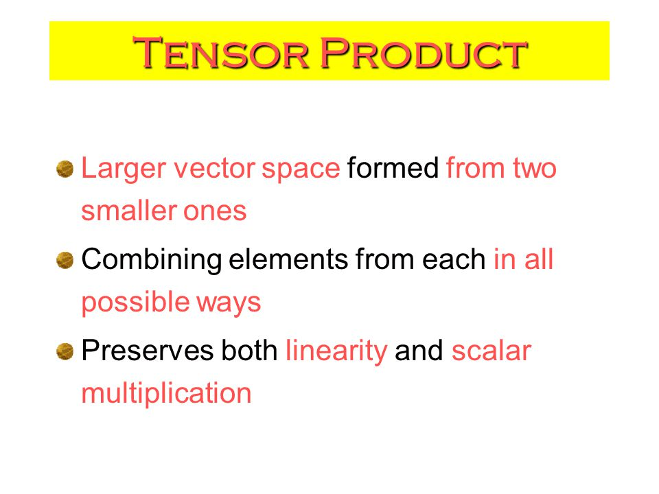 Tensor Product Larger vector space formed from two smaller ones