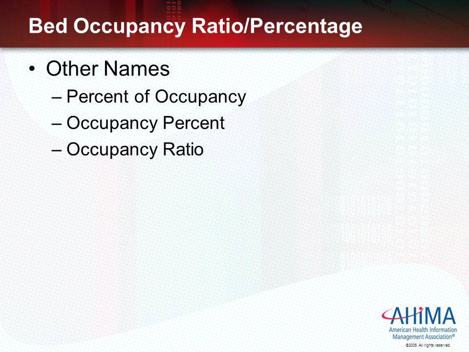 Bed Occupancy Ratio/Percentage