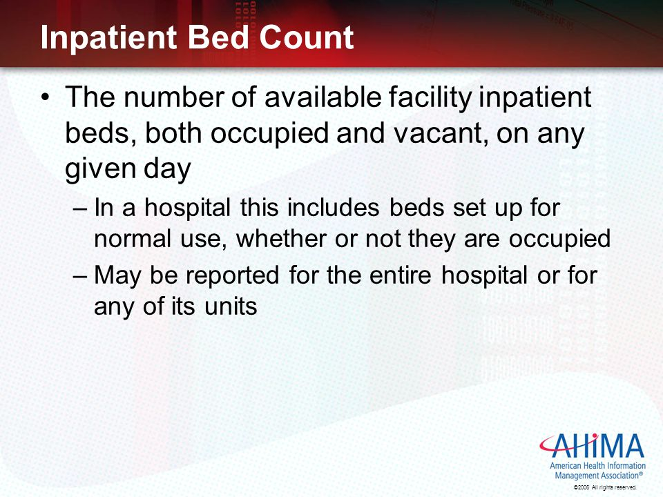 Inpatient Bed Count The number of available facility inpatient beds, both occupied and vacant, on any given day.