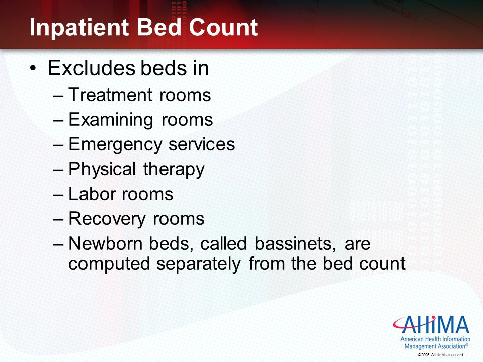 Inpatient Bed Count Excludes beds in Treatment rooms Examining rooms