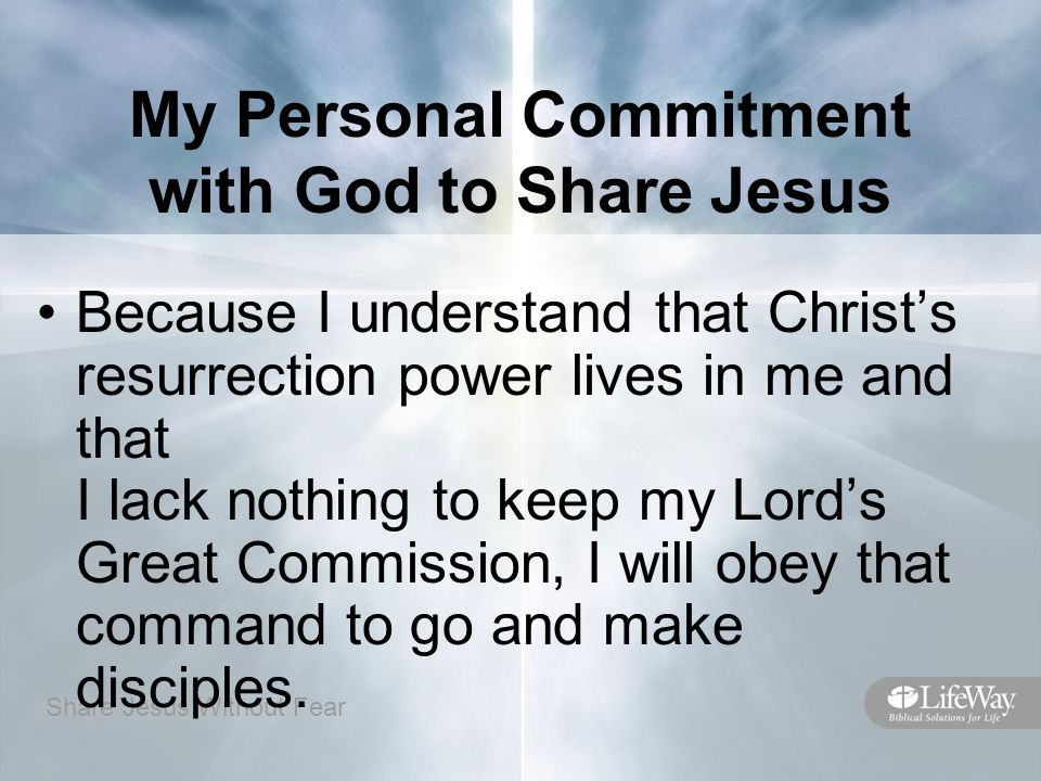 My Personal Commitment with God to Share Jesus