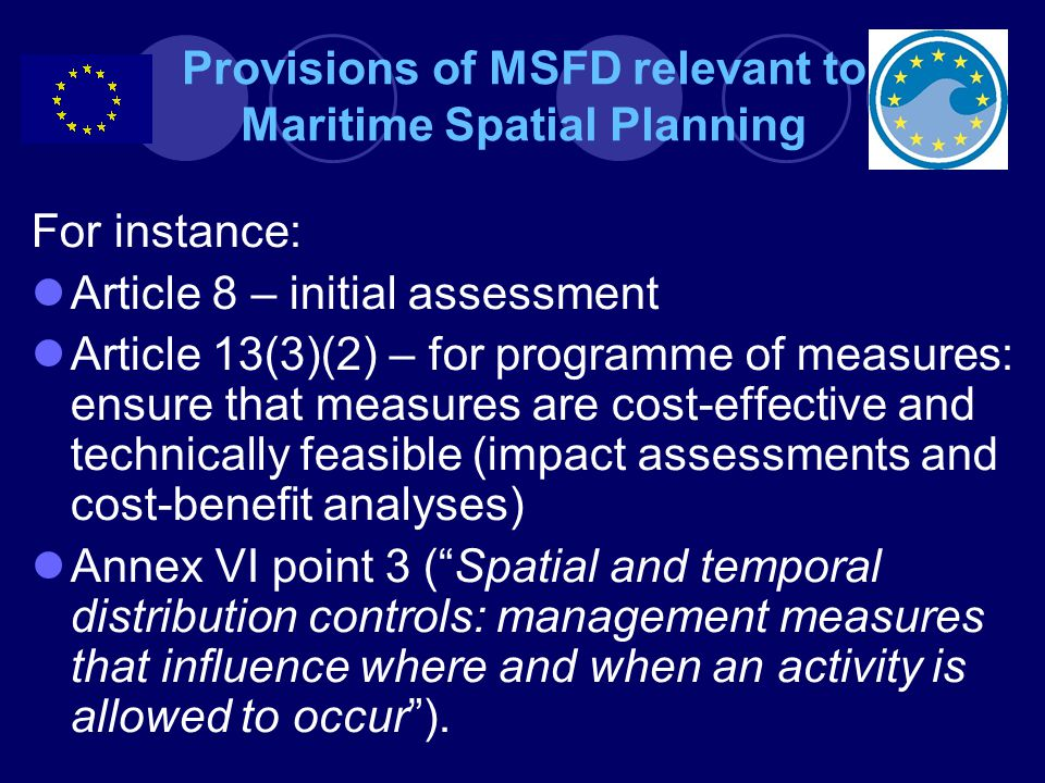 Provisions of MSFD relevant to Maritime Spatial Planning