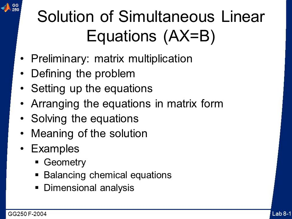 matlab how to solve simultaneous equations