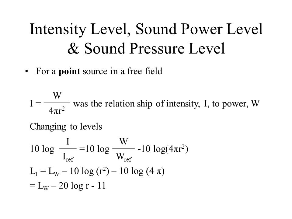 relationship of sound pressure power and intensity
