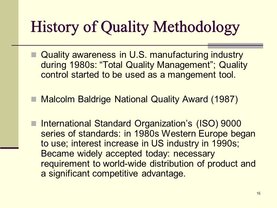 history of quality methodology What are problem definition, perception and solving why use a structured  process introduction to 8d history introduction to 8d model.
