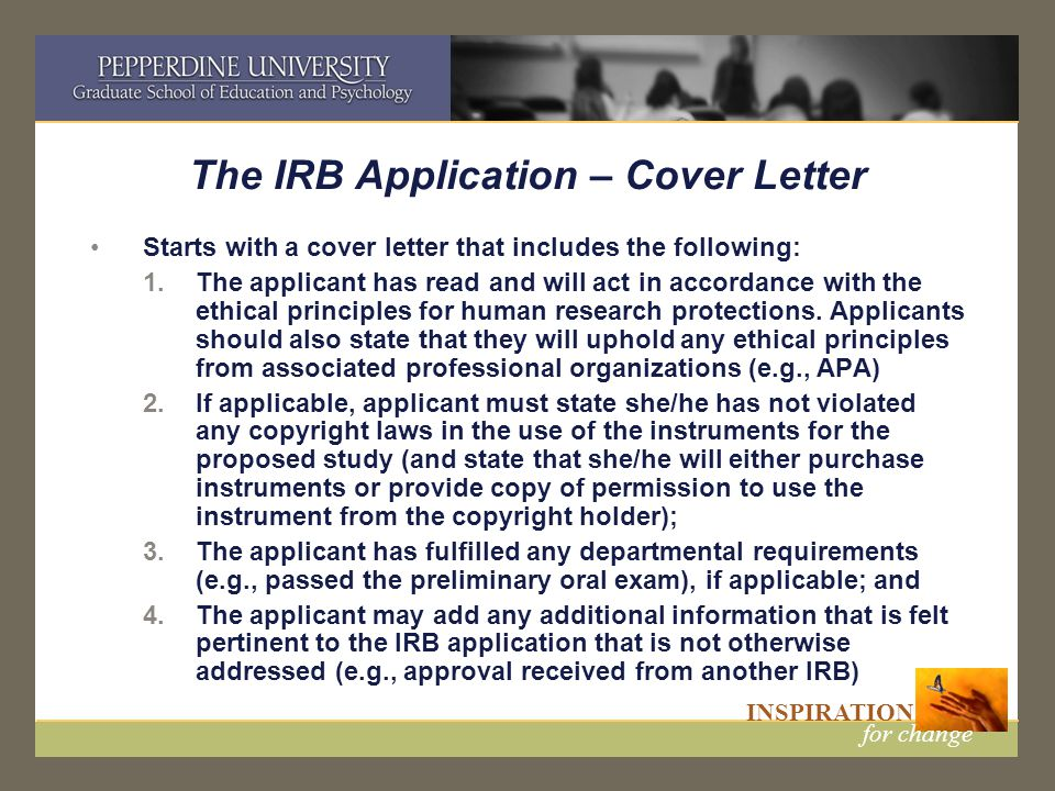The IRB Application U2013 Cover Letter