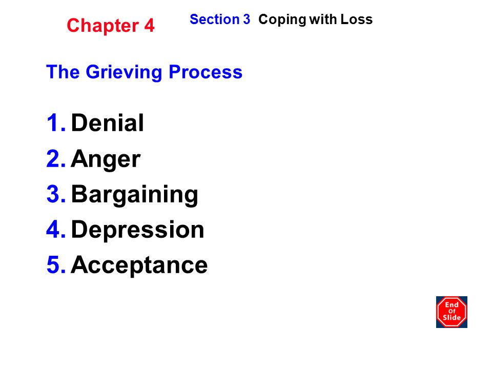 Denial Anger Bargaining Depression Acceptance Chapter 4