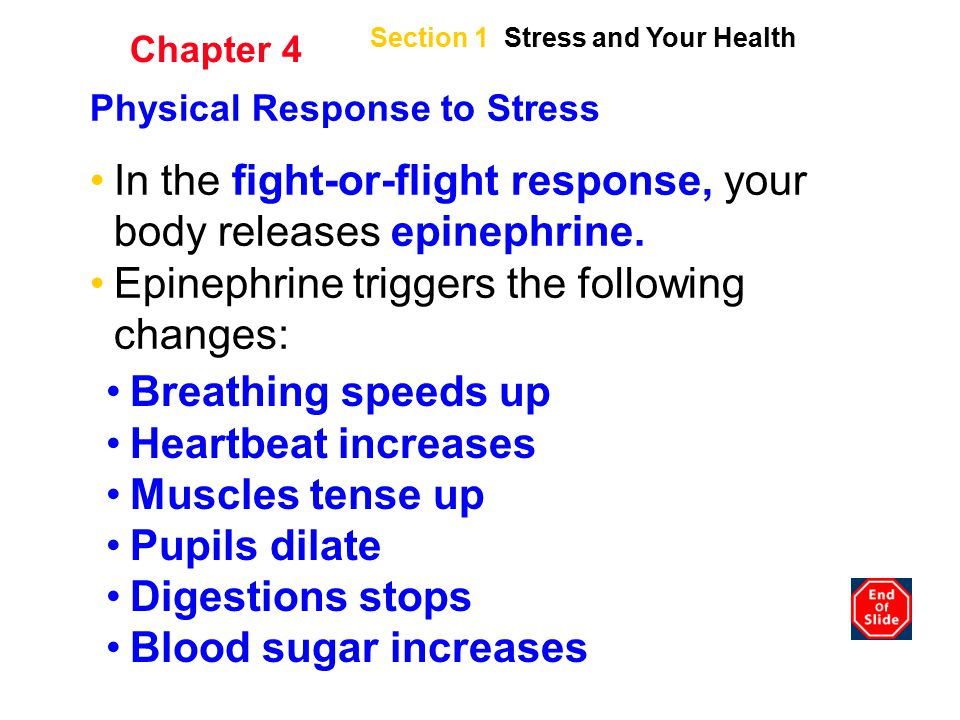 In the fight-or-flight response, your body releases epinephrine.