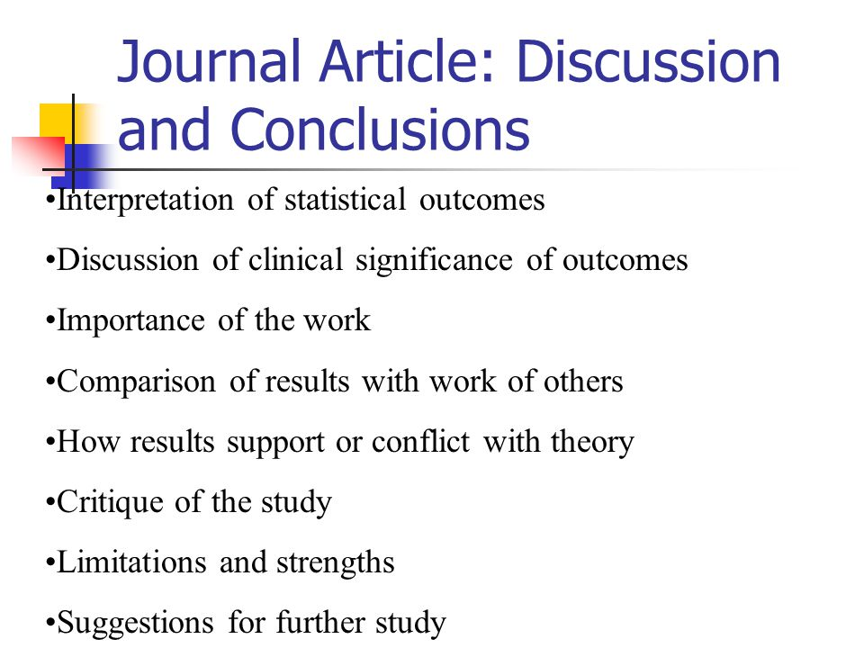 Journal Article: Discussion and Conclusions