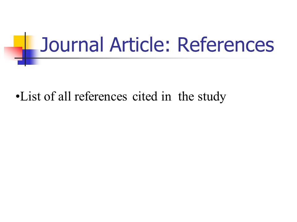 Journal Article: References