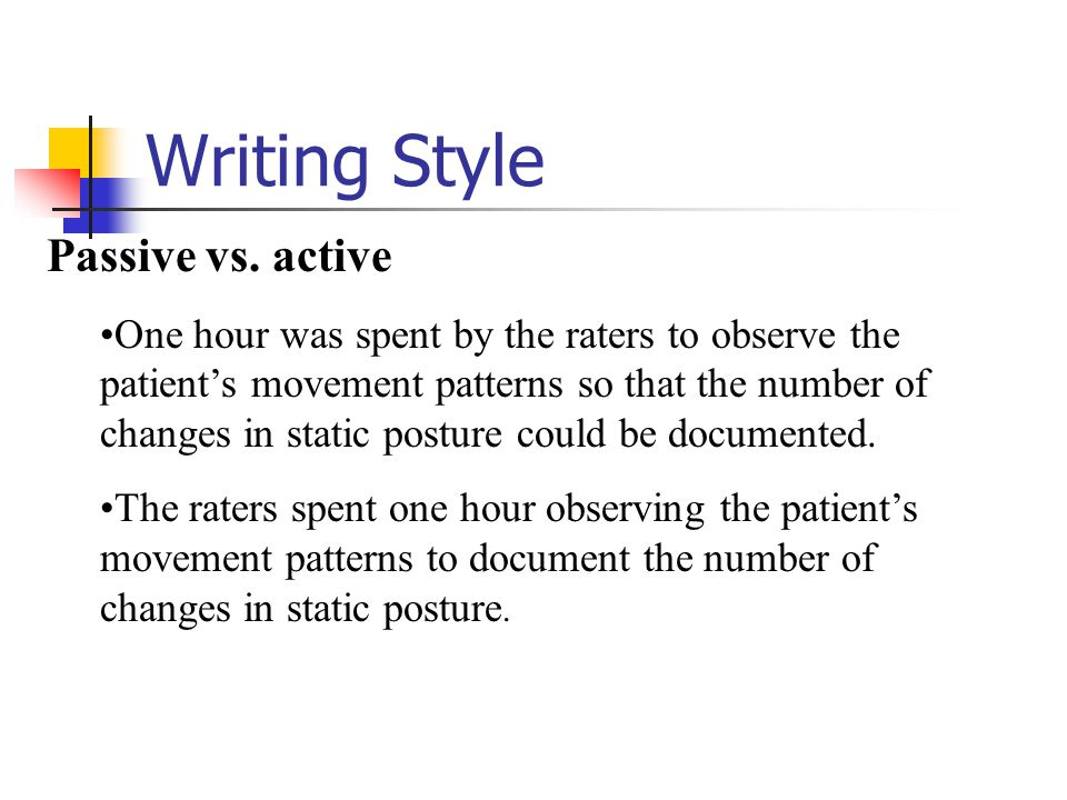 Writing Style Passive vs. active