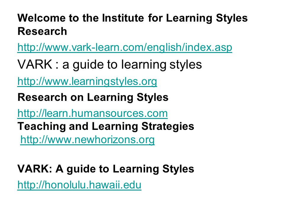 vark analysis determining preferred learning styles Different perspectives of learning styles from vark model  vark preferred learning styles and online education management research news, 27(7), 1-13 duff, a.