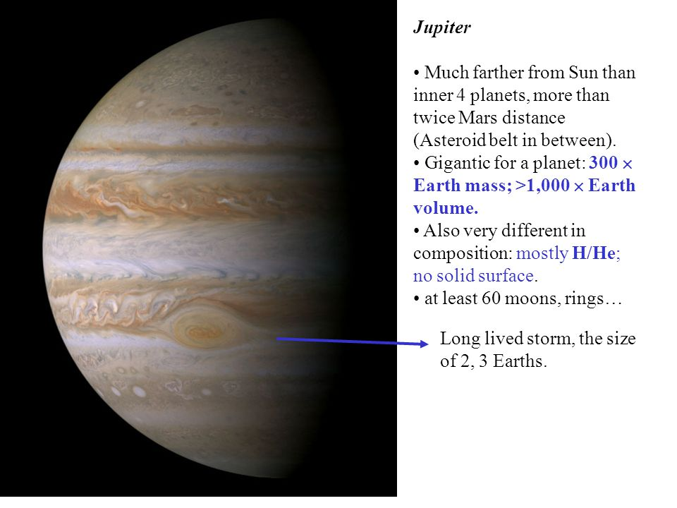Jupiter Much farther from Sun than inner 4 planets, more than twice Mars distance (Asteroid belt in between).